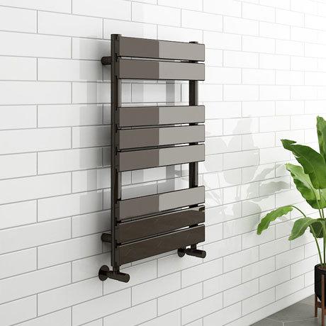 Milan Black Nickel 800 x 500mm Single Panel Heated Towel Rail