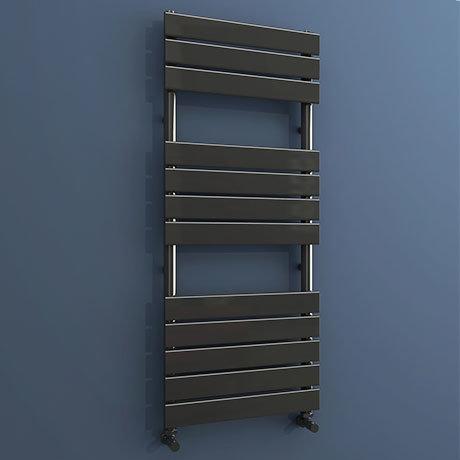 Milan Black Nickel 1200 x 500mm Single Panel Heated Towel Rail
