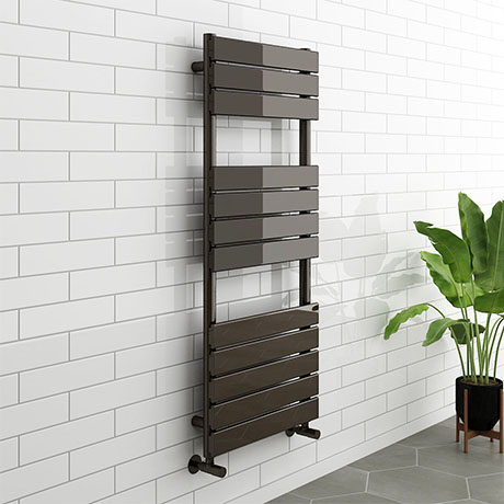 Milan Black Nickel 1200 x 500mm Single Panel Heated Towel Rail