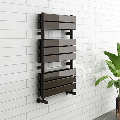 Milan Black Nickel 800 x 500mm Double Panel Heated Towel Rail