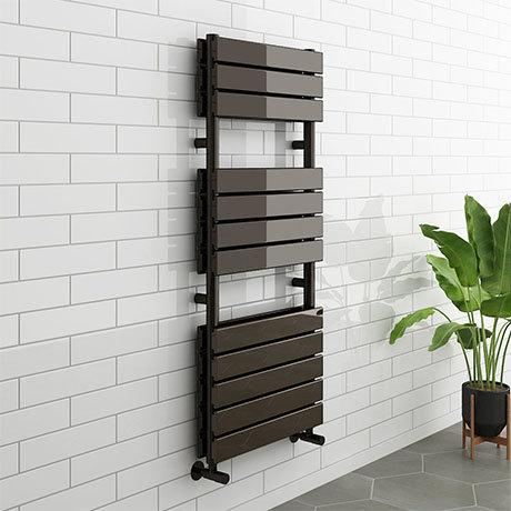 Milan Black Nickel 1200 x 500mm Double Panel Heated Towel Rail