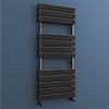 Milan Black Nickel 1200 x 500mm Double Panel Heated Towel Rail profile small image view 1