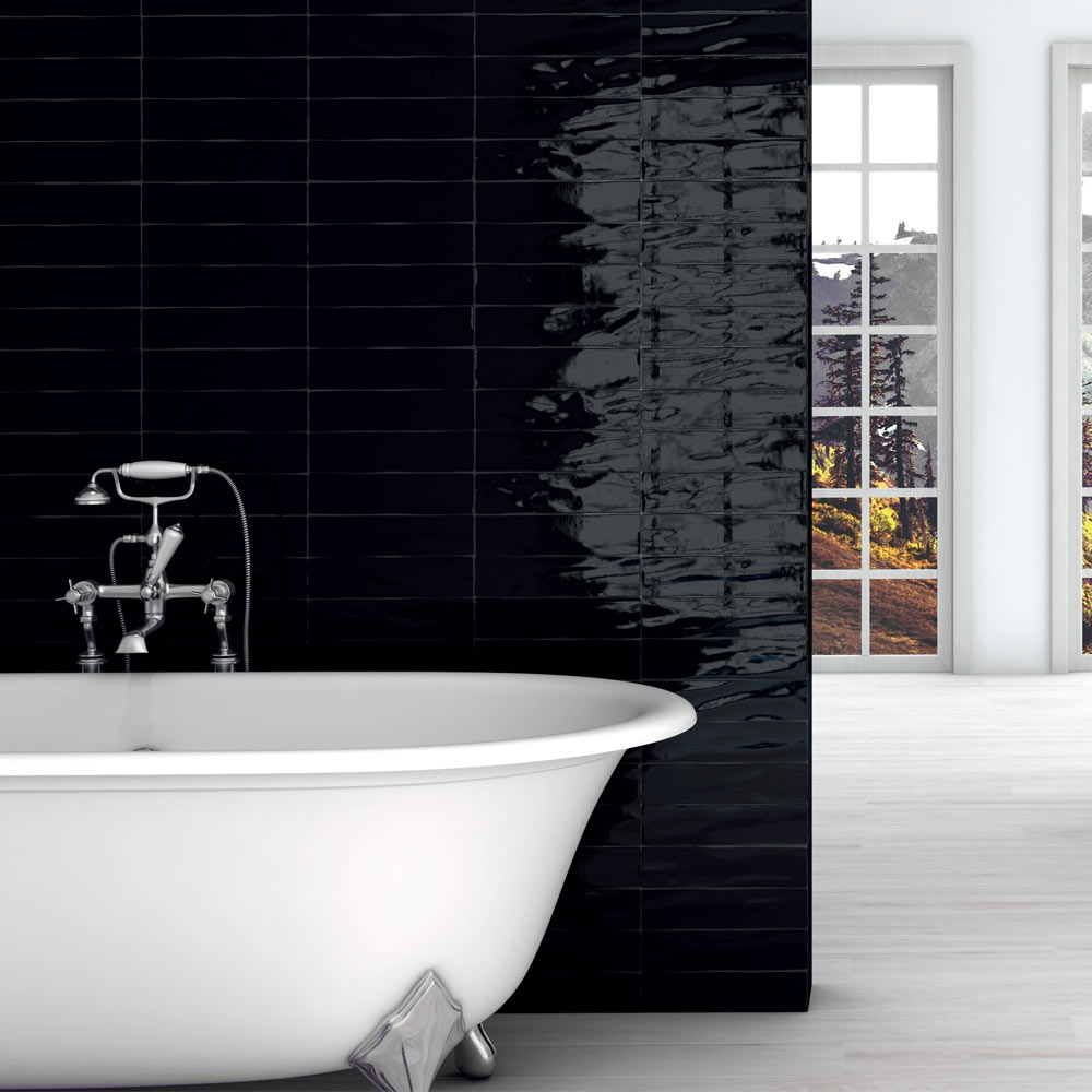 Mileto Black Gloss Porcelain Wall Tile - 75 x 300mm  Feature Large Image