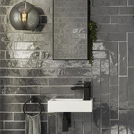 Mileto Brick Grey Gloss Ceramic Wall Tile - 75 x 300mm