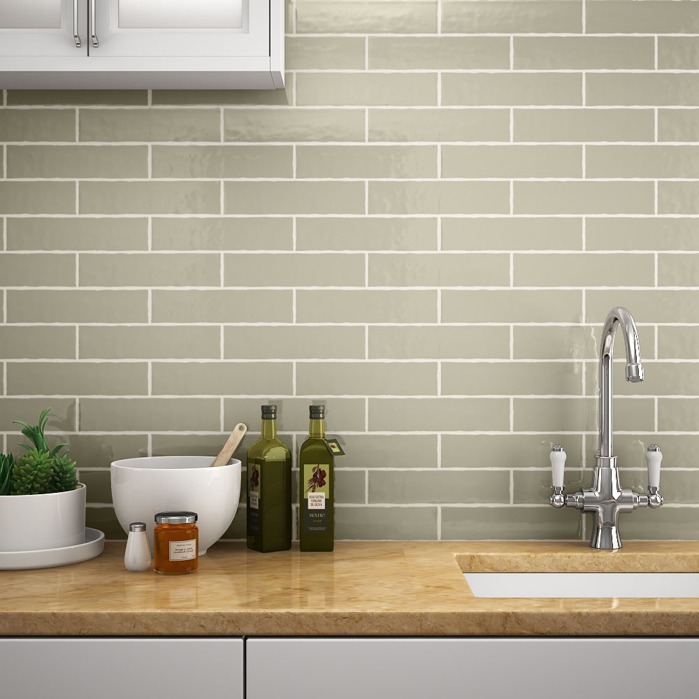 Mileto Olive Gloss Ceramic Wall Tile - 75 x 300mm Large Image
