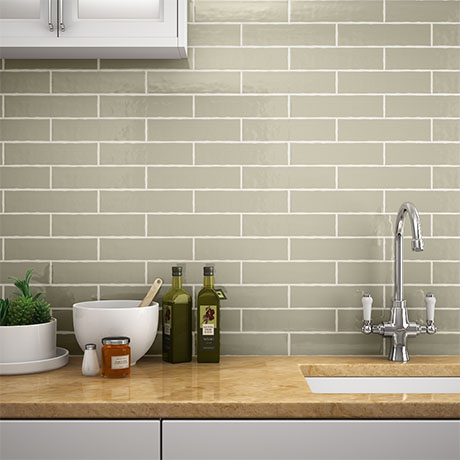 Mileto Olive Gloss Ceramic Wall Tile - 75 x 300mm