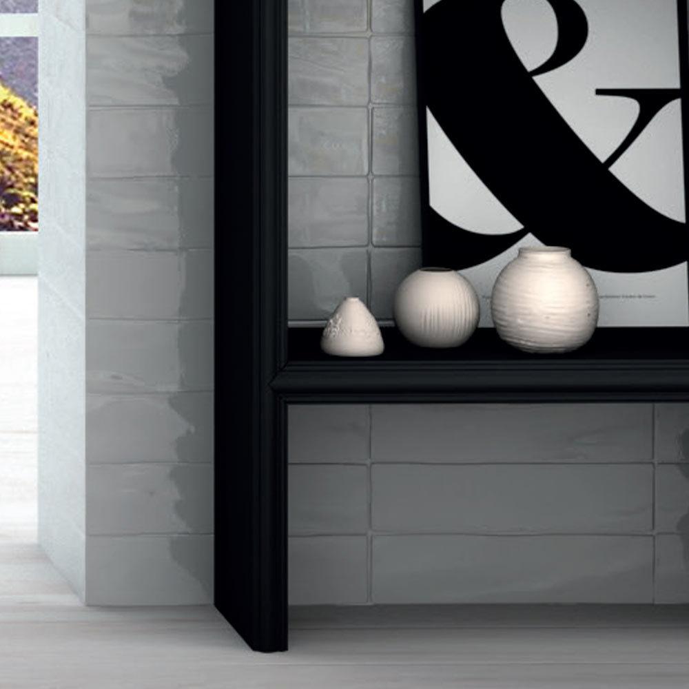 Mileto Brick White Gloss Porcelain Wall Tile - 75 x 300mm  In Bathroom Large Image
