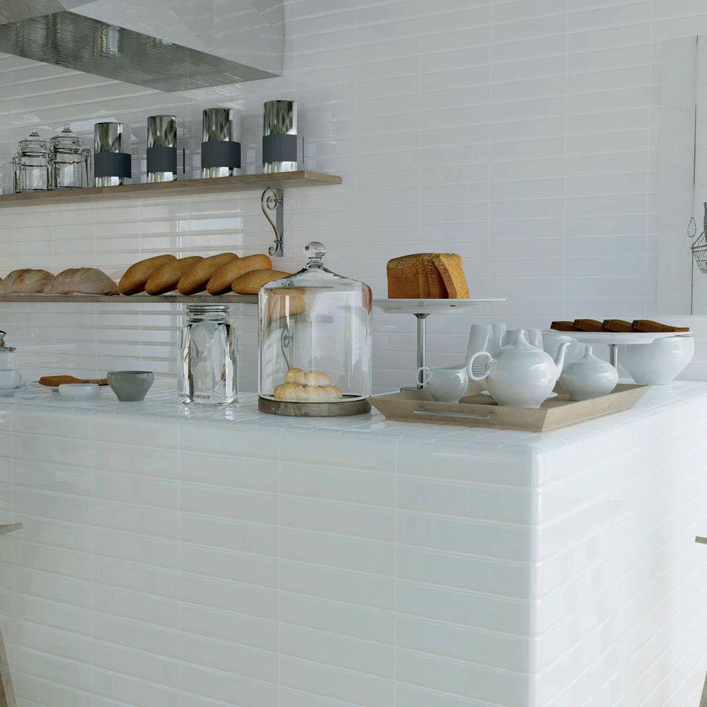 Mileto White Gloss Porcelain Wall Tile - 75 x 300mm  Profile Large Image