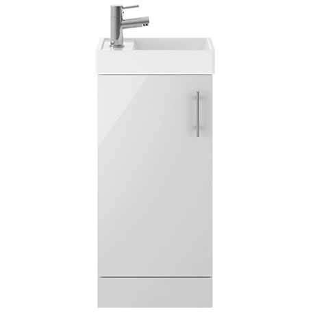 Milan 400mm Gloss Grey Mist Small Floor Standing Vanity Basin Unit
