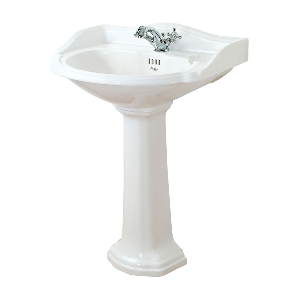 Miller - 655mm Traditional 1TH Basin with Full Pedestal Large Image