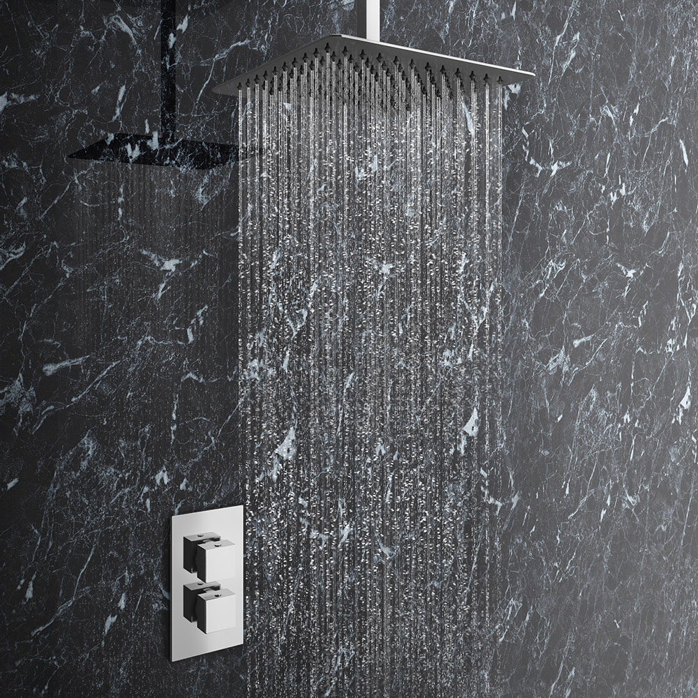 Milan Twin Concealed Shower Valve Inc. Ultra Thin Head + Vertical Arm