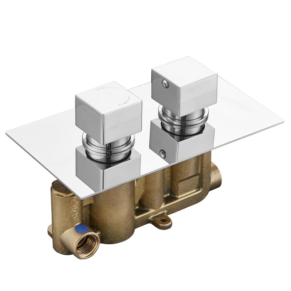 Milan Twin Shower Valve Inc. Outlet Elbow, Handset & Ultra Thin Head with Vertical Arm profile large image view 2