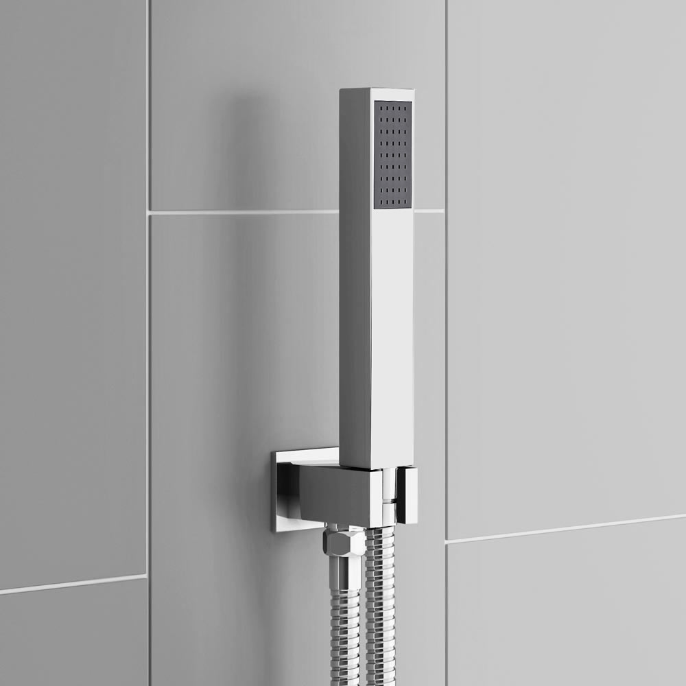 Milan Twin Shower Valve Inc. Outlet Elbow, Handset & Ultra Thin Head with Vertical Arm profile large image view 3