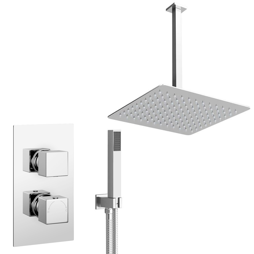 Milan Twin Shower Valve inc. Outlet Elbow, Handset + Ultra Thin Head with Vertical Arm