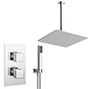 Milan Twin Shower Valve inc. Outlet Elbow, Handset + Ultra Thin Head with Vertical Arm profile small image view 1