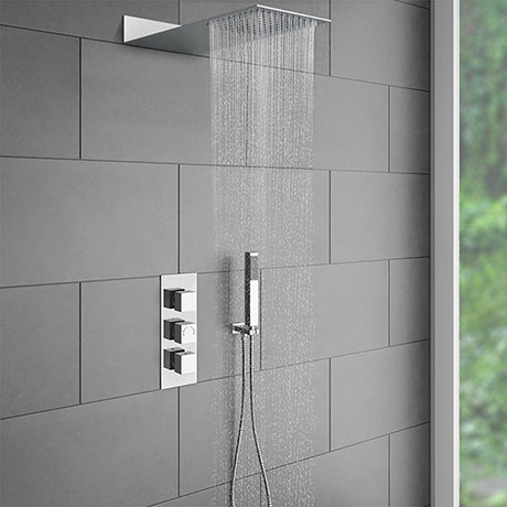 Milan Square Shower Package Inc. Flat Fixed Head + Handset