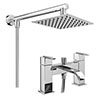Milan Modern Bath Shower Mixer inc. Overhead Rainfall Shower Head profile small image view 1