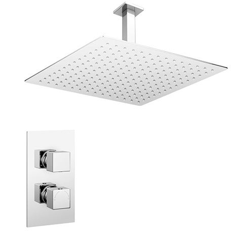 Milan Twin Concealed Thermostatic Valve + 400x400mm Rainfall Shower Head