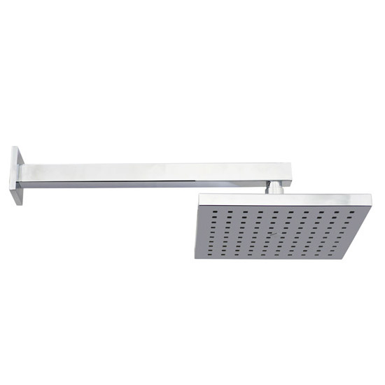 Milan Square Triple Shower Package with Diverter Valve, Head, 4 Body Jets & Slider Feature Large Ima