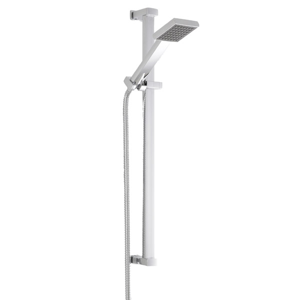 Milan Square Triple Shower Package with Diverter Valve, Head, 4 Body Jets + Slider profile large image view 3