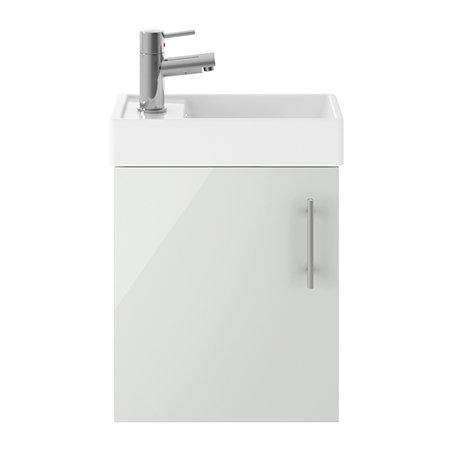 Milan 400mm Grey Mist Compact Wall Hung Vanity Basin Unit