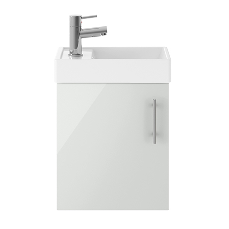 Nuie Vault 400mm Grey Mist Compact Wall Hung Vanity Basin Unit