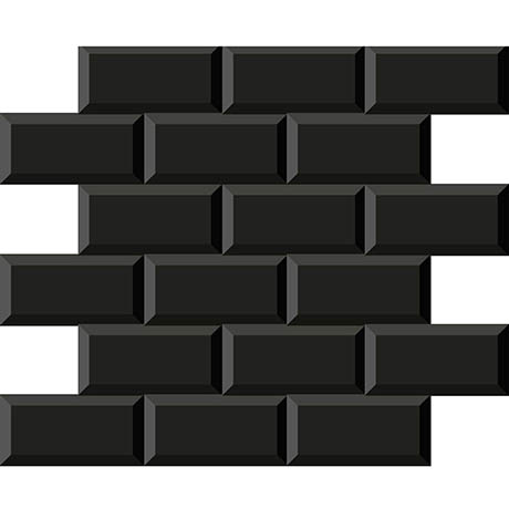 Victoria Black Mini Metro Mosaic Tile - 291 x 296mm