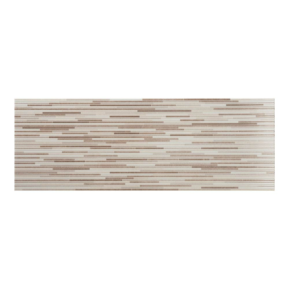 Minnesota Cream Gloss Decor Wall Tile - 250 x 700mm Large Image