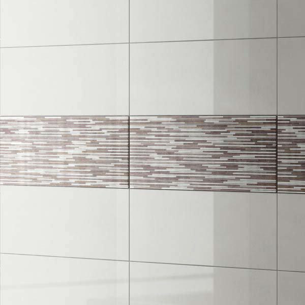 Minnesota Pearl Gloss Decor Wall Tile - 250 x 700mm Large Image