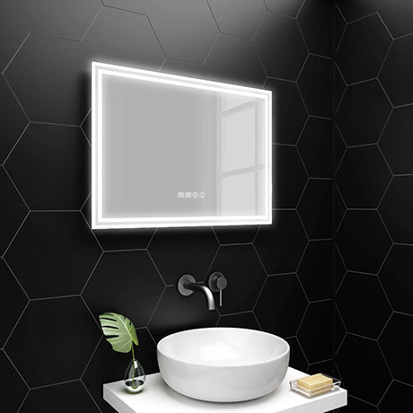 Turin 700x500mm LED Illuminated Mirror Inc. Anti-Fog, Digital Clock & Touch Sensor - MIR009