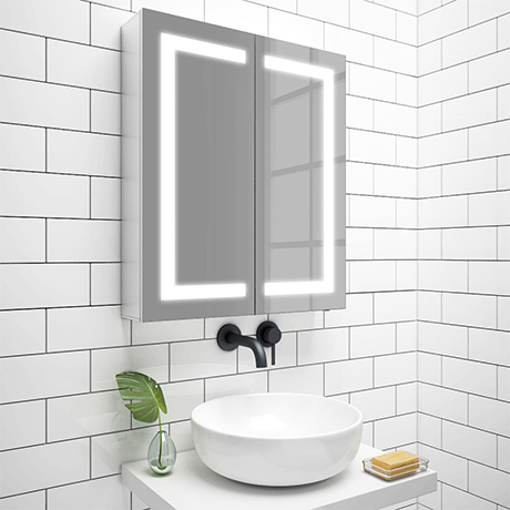 Turin 600x700mm LED Illuminated 2-Door Mirror Cabinet Inc. Motion Sensor - MIR014