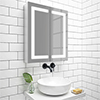 Turin 600x700mm LED Illuminated 2-Door Mirror Cabinet Inc. Motion Sensor - MIR014 profile small image view 1