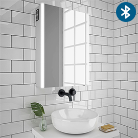 Turin 500x700mm LED Illuminated Bluetooth Mirror Cabinet with Motion Sensor, Shaving Socket & Anti-Fog - MIR017