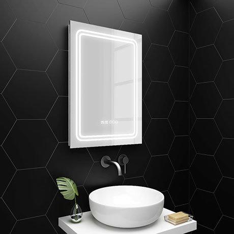 Turin 500x700mm LED Illuminated Mirror Inc. Anti-Fog, Digital Clock & Touch Sensor - MIR020