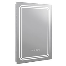 Turin 500x700mm LED Illuminated Mirror Inc. Anti-Fog, Digital Clock & Touch Sensor - MIR020 Medium I