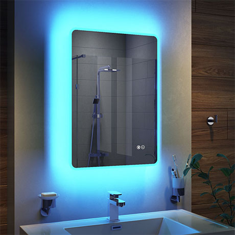 Turin 500x700mm Ambient Colour Change Led Bluetooth Mirror Inc Touch Sensor Anti Fog