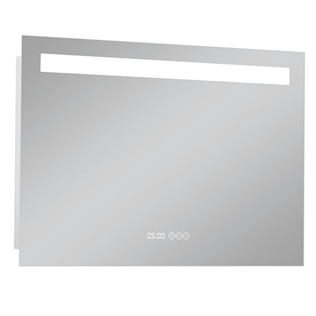 Turin 800x600mm LED Illuminated Mirror Inc. Anti-Fog, Digital Clock & Touch Sensor - MIR042