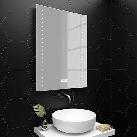 Turin 600x800mm LED Bathroom Mirror Inc. Digital Clock, Anti-Fog & Shaving Socket