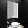 Turin 600x800mm LED Bathroom Mirror Inc. Digital Clock, Anti-Fog & Shaving Socket profile small image view 1