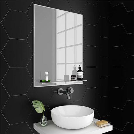 Trafalgar 600 x 800mm Bevelled Bathroom Mirror with Glass Shelf