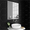 Trafalgar 600 x 800mm Bevelled Bathroom Mirror with Glass Shelf profile small image view 1