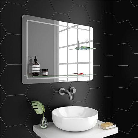 Trafalgar 800 x 600mm Rectangular Bevelled Bathroom Mirror with 2 x Glass Shelves