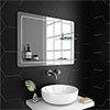 Trafalgar 800 x 600mm Rectangular Bevelled Bathroom Mirror with 2 x Glass Shelves profile small image view 1