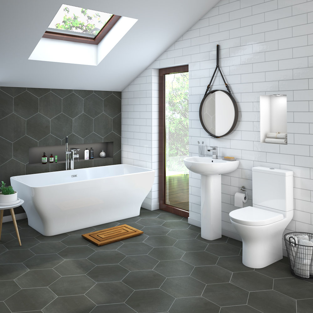 If you want to add a unique feature to your bathroom design then a fantastic bathroom decorating idea is to use hexagon shaped bathroom tiles.