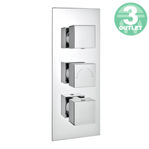 Milan Triple Square Concealed Thermostatic Shower Valve with Diverter - Chrome Medium Image