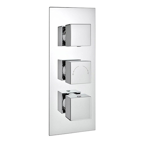 Milan Triple Square Concealed Thermostatic Shower Valve with Diverter - Chrome
