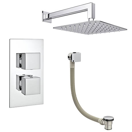 Milan Modern Shower Package (Fixed Shower Head + Overflow Bath Filler)