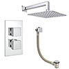Milan Modern Shower Package (Fixed Shower Head + Overflow Bath Filler) profile small image view 1