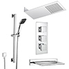 Milan Modern Shower Package (Fixed Head, Riser Rail Kit + Bath Spout) profile small image view 1