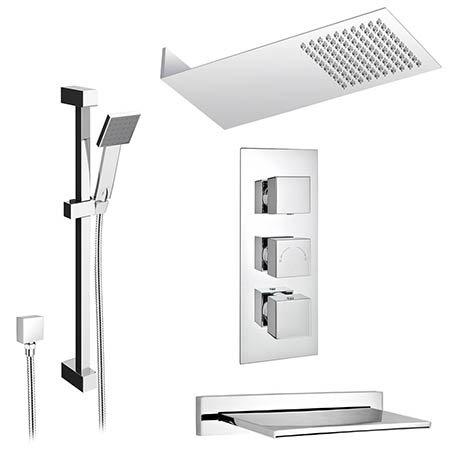 Milan Modern Shower Package (Fixed Head, Riser Rail Kit + Bath Spout)